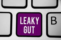 Writing note showing Leaky Gut. Business photo showcasing A condition in which the lining of small intestine is damaged Keyboard p