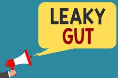 Writing note showing Leaky Gut. Business photo showcasing A condition in which the lining of small intestine is damaged Man holdin