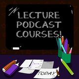 Writing note showing Lecture Podcast Courses. Business photo showcasing the online distribution of recorded lecture. Material Mounted Blackboard with Chalk royalty free illustration