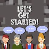 Writing note showing Let S Get Started. Business photo showcasing beginning time motivational quote Inspiration. Encourage royalty free illustration