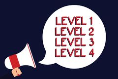 Writing note showing Level 1 Level 2 Level 3 Level 4. Business photo showcasing Steps levels of a process work flow Man holding me. Gaphone loudspeaker speech stock illustration