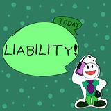 Writing note showing Liability. Business photo showcasing State of being legally responsible for something. Writing note showing Liability. Business concept for vector illustration
