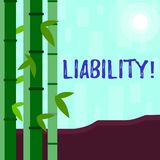 Writing note showing Liability. Business photo showcasing State of being legally responsible for something. Writing note showing Liability. Business concept for royalty free illustration