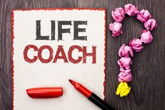 Writing note showing Life Coach. Business photo showcasing Mentoring Guiding Career Guidance Encourage Trainer Mentor written on. Writing note showing Life Coach stock photo