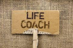 Writing note showing  Life Coach. Business photo showcasing Mentoring Guiding Career Guidance Encourage Trainer Mentor written on. Writing note showing  Life Royalty Free Stock Images