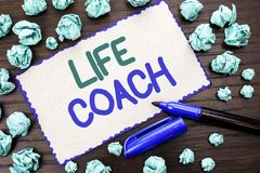 Writing note showing Life Coach. Business photo showcasing Mentoring Guiding Career Guidance Encourage Trainer Mentor written on stock image