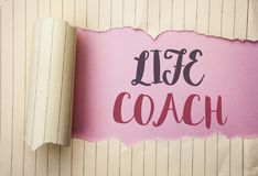 Writing note showing  Life Coach. Business photo showcasing Mentoring Guiding Career Guidance Encourage Trainer Mentor written on. Writing note showing  Life Royalty Free Stock Photo