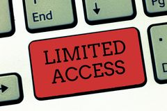 Writing note showing Limited Access. Business photo showcasing Having access restricted to a quite small number of points.  stock images