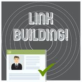 Writing note showing Link Building. Business photo showcasing process of acquiring hyperlinks from other website to your. Writing note showing Link Building stock illustration