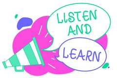 Writing note showing Listen And Learn. Business photo showcasing Pay attention to get knowledge Learning Education Lecture Creativ royalty free illustration