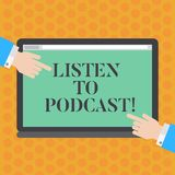 Writing note showing Listen To Podcast. Business photo showcasing series of digital audio or video files which user. Download Hu analysis Hands Pointing on a stock illustration