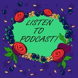 Writing note showing Listen To Podcast. Business photo showcasing series of digital audio or video files which user. Download Floral Wreath made of Tiny Seeds stock illustration