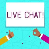 Writing note showing Live Chat. Business photo showcasing Real time media conversation Online communicate Two. Writing note showing Live Chat. Business concept vector illustration