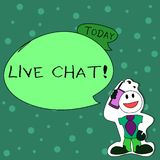 Writing note showing Live Chat. Business photo showcasing Real time media conversation Online communicate Man in Necktie. Writing note showing Live Chat royalty free illustration