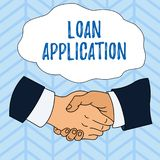 Writing note showing Loan Application. Business photo showcasing Document that provides financial information about. Writing note showing Loan Application stock illustration