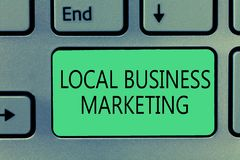 Writing note showing Local Business Marketing. Business photo showcasing Localized specification on Store characteristic.  stock photos