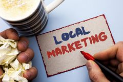 Writing note showing  Local Marketing. Business photo showcasing Regional Advertising Commercial Locally Announcements written by Royalty Free Stock Images