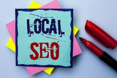 Writing note showing  Local Seo. Business photo showcasing Search Engine Optimization Strategy Optimize Local Find Keywords writte. N Sticky Note Paper the Plain Royalty Free Stock Image