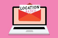 Writing note showing Location Based. Business photo showcasing Mobile marketing to target users within same geographic area Comput. Er receiving email important stock illustration