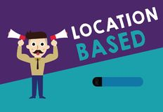 Writing note showing Location Based. Business photo showcasing Mobile marketing to target users within same geographic area.  royalty free illustration