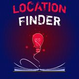 Writing note showing Location Finder. Business photo showcasing A service featured to find the address of a selected. Place stock illustration