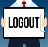 Writing note showing Logout. Business photo showcasing go through procedures to conclude use of computer database or vector illustration