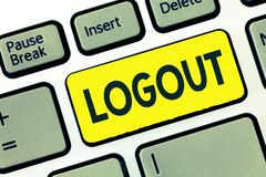 Writing note showing Logout. Business photo showcasing go through procedures to conclude use of computer database or. System stock photos