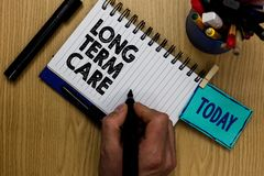 Writing note showing Long Term Care. Business photo showcasing Adult medical nursing Healthcare Elderly Retirement housing Man hol royalty free stock photography