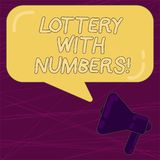 Writing note showing Lottery With Numbers. Business photo showcasing game of chance in which showing buy numbered. Tickets Megaphone and Rectangular Color vector illustration