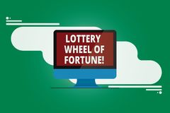 Writing note showing Lottery Wheel Of Fortune. Business photo showcasing Chances good luck gambling addiction gambler. Mounted Computer Monitor Blank Reflected stock illustration