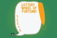 Writing note showing Lottery Wheel Of Fortune. Business photo showcasing Chances good luck gambling addiction gambler. Blank Color Speech Bubble Outlined with vector illustration