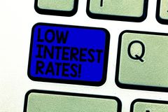 Writing note showing Low Interest Rates. Business photo showcasing meant to stimulate economic growth making it cheaper. Keyboard key Intention to create vector illustration