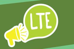 Writing note showing Lte. Business photo showcasing A 4G mobile communications standard Improving wireless broadband. Speeds stock illustration