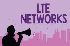 Writing note showing Lte Networks. Business photo showcasing Fastest network connection available for wireless communication Man h. Olding megaphone speaking Vector Illustration