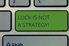 Writing note showing Luck Is Not A Strategy. Business photo showcasing it is not being Lucky when planned intentionally stock illustration