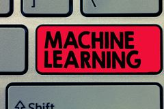 Writing note showing Machine Learning. Business photo showcasing give computers the ability to be taught with data.  stock photo