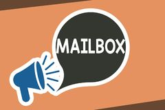 Writing note showing Mailbox. Business photo showcasing Box mounted on post where mail is delivered Computer file for. Email stock illustration