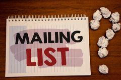Writing note showing  Mailing List. Business photos showcasing Names and addresses of people you are going to send something. Writing note showing  Mailing List Royalty Free Stock Photos