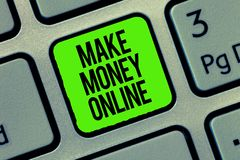 Writing note showing Make Money Online. Business photo showcasing Ecommerce Trading Selling over the internet Freelance.  royalty free stock photography