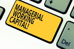 Writing note showing Managerial Working Capital. Business photo showcasing Shortterm liabilities and shortterm assets. Keyboard key Intention to create computer royalty free stock photography