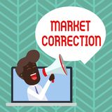 Writing note showing Market Correction. Business photo showcasing When prices fall 10 percent from the 52 week high Man. Writing note showing Market Correction vector illustration