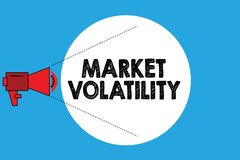 Writing note showing Market Volatility. Business photo showcasing Underlying securities prices fluctuates Stability status