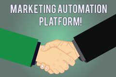 Writing note showing Marketing Automation Platform. Business photo showcasing automate repetitive task related to marketing Hu. Analysis Shaking Hands on stock illustration