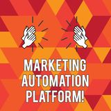 Writing note showing Marketing Automation Platform. Business photo showcasing automate repetitive task related to. Marketing Hu analysis Hands Clapping with stock illustration