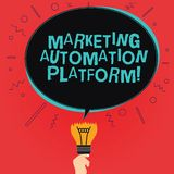 Writing note showing Marketing Automation Platform. Business photo showcasing automate repetitive task related to marketing Oval. Speech Bubble Above a Broken stock illustration