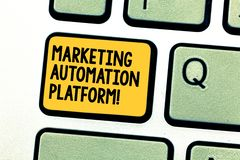Writing note showing Marketing Automation Platform. Business photo showcasing automate repetitive task related to. Marketing Keyboard key Intention to create royalty free stock images
