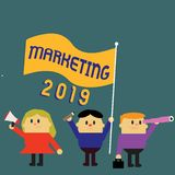 Writing note showing Marketing 2019. Business photo showcasing Commercial trends for 2019 New Year promotional event.  royalty free illustration