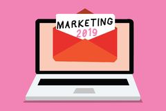 Writing note showing Marketing 2019. Business photo showcasing Commercial trends for 2019 New Year promotional event Computer rece. Iving email important message royalty free illustration