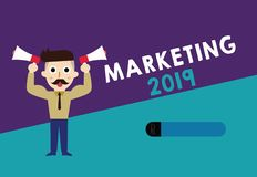 Writing note showing Marketing 2019. Business photo showcasing Commercial trends for 2019 New Year promotional event.  vector illustration