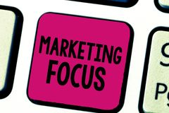 Writing note showing Marketing Focus. Business photo showcasing understanding your customers and thier needs using stats.  royalty free stock photo